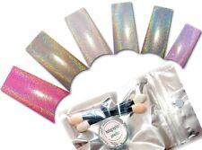 Hologramm Look Nägel Regenbogen Pulver Pigment schillerndes Glimmer Effekt