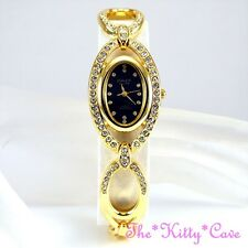 OMAX Unusual Gold & Black Seiko Movt Marquise Watch w/ Swarovski Crystals JES590