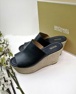 Michael Kors Cunningham Wedge Espadrille Slide Sandals Navy Blue Leather US 9.5