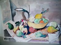LP17 (J7)  Beautiful Vintage Watercolor Fruit Still Life on Paper Unsigned
