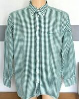 "Mens Aquascutum Shirt Green White Check Button Down L/Sleeve 17"" Pit to Pit 26"""