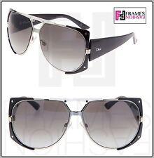 CHRISTIAN DIOR ENIGMATIC Square Aviator Shiny Black Silver Mirrored Sunglasses