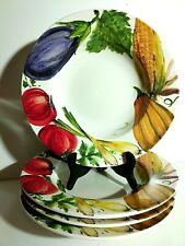 """4-Set Crate And Barrel 12"""" Porcelain Salad Pasta Bowls """"Vegetable Garden"""" Italy"""