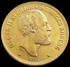 1875 ST GOLD SWEDEN 20 KRONOR 8.96 GRAMS COIN OSCAR II COIN