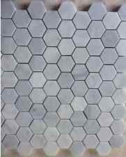 Imperial White Carrara Hexagon Mosaic Tile Honed