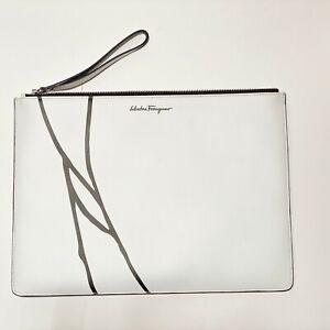 NWT FERRAGAMO White Leather iPad Tablet Satchel Document Bag Purse Men Women