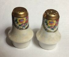 Collectible Vintage Bell Shaped White With Flowers Salt & Pepper Shakers