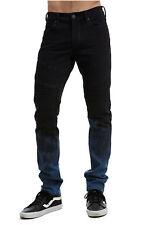 True Religion Men's Rocco Moto Skinny Stretch Jeans in Pipeline Blue