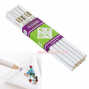 10 x Wood Pencil Crystal Rhinestones Picker Nail Art Craft Wax Pick Up Pen Tools