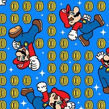 Nintendo Super Mario & coin toss Blue 100% cotton Fabric by the yard