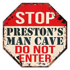 Otgm-0360 Stop Preston'S Man Cave Tin Rustic Sign Man Cave Decor Gift Ideas