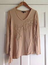 Cable & Gauge Beige Long Sleeve Asymmetric Crochet Flower Shirt Womens Medium