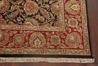 BLACK/BURGUNDY Floral Agra Wool Area Rug Hand-Knotted Living Room Carpet 8'x10'