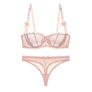 Varsbaby Sheer Transparent Half Cup Bra with Thongs Set Sexy Lace Underwear