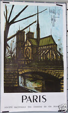 AFFICHE ANCIENNE BUFFET 1963 SNCF PARIS NOTRE DAME