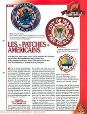 FICHE Patches Chicago Miami Daytona-Beach New-York Sapeurs Pompiers FIREFIGHTER