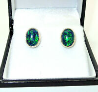 9CT HALLMARKED YELLOW GOLD CABOCHON OVAL BLACK OPAL 8X6 MM STUD EARRINGS