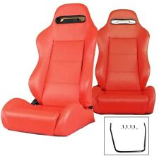 1 PAIR RED PVC LEATHER RACING SEATS RECLINABLE FIT FOR SUBARU + SLIDERS