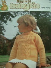 VINTAGE HAYFIELD KNITTING PATTERN BABIES CHILDS SWEATER 3, 4 PLY & DK 18 - 26 in