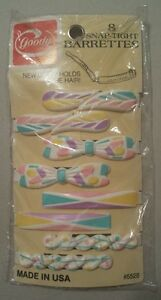 Vintage 1987 Goody 8 Snap-Tight Barrettes Plastic Clips SPRING PASTEL COLORS