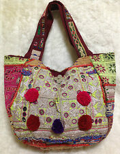 **HANDCRAFTED WITH LOVE!!**VINTAGE GUJARATI EMBROIDERED FABRIC TOTE BAG**