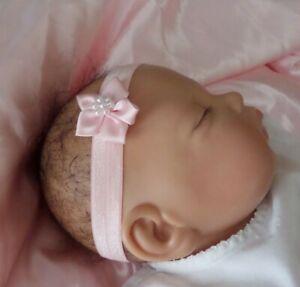 Baby Headband Hairband Soft Elastic Satin Flower Pearls Hair Accessories 4 sizes