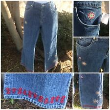 Flared Jeans Pants Embroidered Flowers/ Border Hippie Boho Junior Size 14 NWT