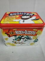 VINTAGE ORVILLE REDENBACHER'S REDEN BUDDERS TIN POPCORN ADVERTISING snow skiing