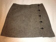 J.CREW Women's Short Mini Skirt Size 6 Wool Blend Striped Button Lined Size 6