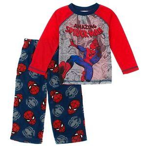 Marvel Spider Man Boys Long Sleeve Top Fleece Pants Pajama 2 PC PJ Set SpiderMan