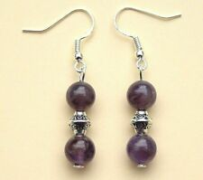 Amethyst Earrings with Silver Plated Hooks New Gemstone Pair Drops LB235