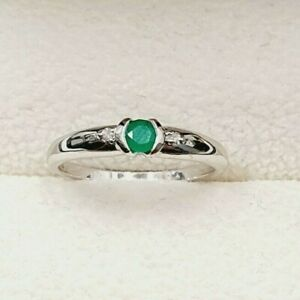 9ct White Gold Emerald & Diamond Slim Ring Size K 1/2 STOCK CLEARANCE