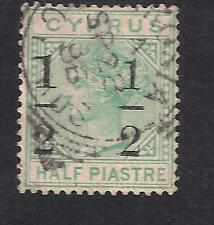 CYPRUS 1886 Q.V 1/2 on 1/2pi  S.G 29a Wmk CA LARGE 1 AT LEFT ERROR FINE USED