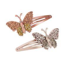 Two piece glitter effect butterfly design hair snap clip set
