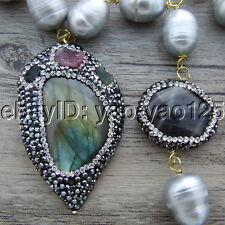 S102108 25'' 12x14MM Gray Rice Pearl Labrodorite CZ Pendant Necklace