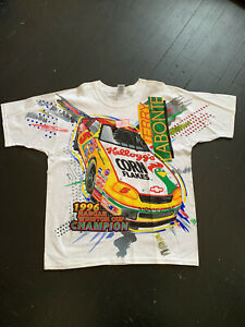 Vintage 90's Terry Labonte Kelloggs NASCAR Racing Shirt Men's XL All Over AOP
