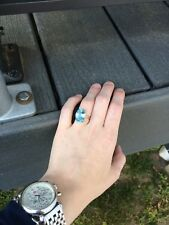 Huge 14K Cocktail Gold Ring with Blue Topaz Stone