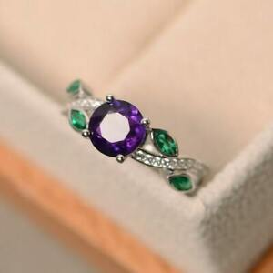 14k White Gold Plated Amethyst and Green Emerald Leaf Ring, Engagement Ring