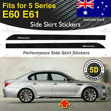 Fits BMW E60 E61 5 Series M Performance Side Skirt 5D CARBON FIBER Stickers AU