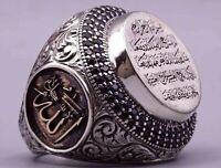 Turkish Handmade Jewelry Silver İslamic Men's Ring Size