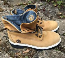 Ladies Denim Roll Top Timberland Suede Nubuck Boots Beige UK 6