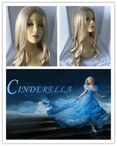 G2-1 Princess Cinderella Disney Light Blonde Long Curly Adults Wigs  60cm
