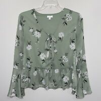 C Brand Size Medium Floral Bell Sleeve Green Button Front Knot Spring Boho