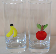 Set of Two HandBlown Applique Fruit Glass Tumbler Vintage Banana Cherries Murano