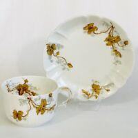 H & C France Haviland Limoges Cup And Saucer Brown Flowers Embossed Vintage