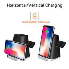 2in1 QI Wireless Charger Fast Charging Dock Stand For Apple Airpods iPhone