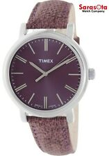 Timex T2P172 Stainless Steel Purple Dial Leather Indiglo Quartz Women's Watch