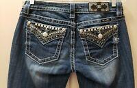 Women Miss Me Studded Pockets  Signature Boot Cut Denim Jeans Size 27X31