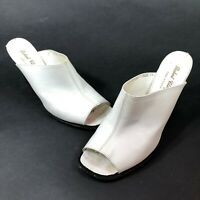 Robert Clergerie Womens 7 B White Leather Thick Block Heels Covered Mules