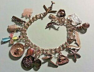 Vintage Sterling Silver Charm Bracelet & 15 Charms, 43.8gr, 7.25, Disney, Travel